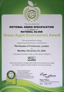 Green Apple National Silver Environment Award 2020
